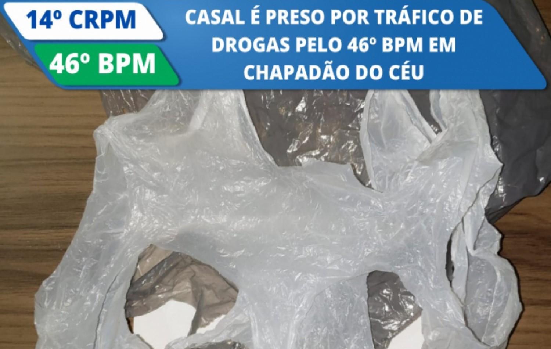 Casal é preso por tráfico de drogas pelo 46° BPM em Chapadão do Céu.